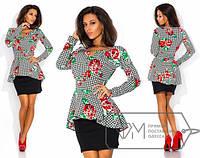 Платье  Баска с красными розами