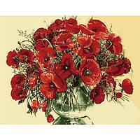 Картина 40х50 Красные маки в стеклянной вазе. Рисование по номерам Идейка