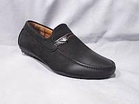 Детские туфли оптом, 22-27 р., мокасины с шильдиком армани, черный замш