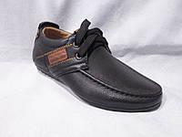Детские туфли оптом, 22-27 р., на шнурках, с контрастными нашивками, черный цвет