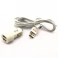 АЗУ 2USB Зарядка Fly 5V 2000 mA + micro USB кабель white