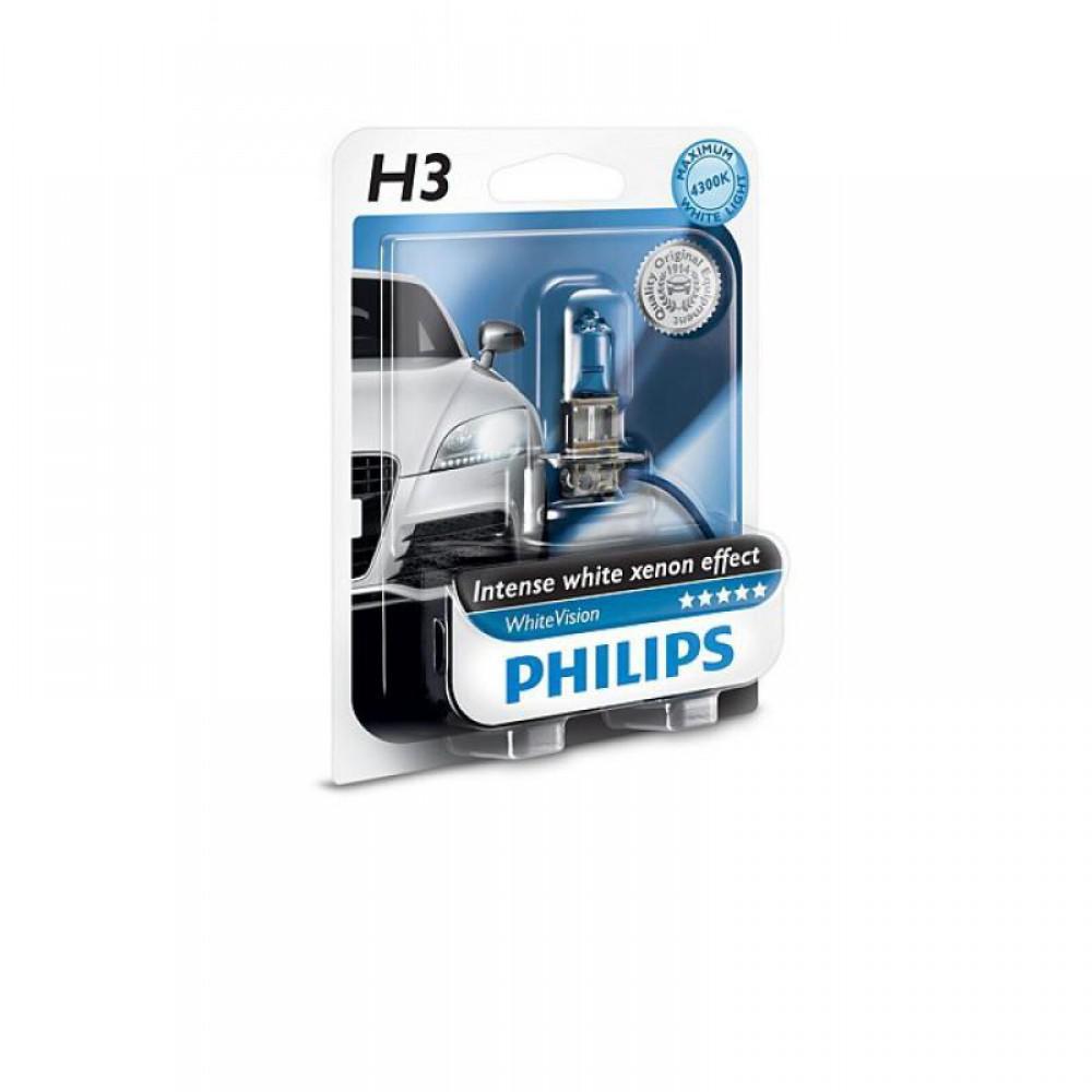 Лампа галогенная Philips H3 WhiteVision +60%, 3700K, 1шт/блистер 12336WHVB1
