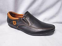 Туфли детские 32-37 р., с оранжевой строчкой и нашивкой-буквой,черные