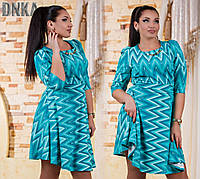 Модное бирюзовое  батальное платье с поясом и украшением. Арт-9659/13