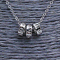[0,7/0,3см] Кулон на цепочке оптом, три широких кольца с символами, металл серый