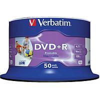 Диск DVD+R 50 Verbatim, 4.7Gb, 16x, Printable, Cake Box (43512)