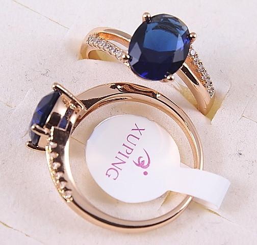 Кольцо 17р. xuping позолота 18К синий цирконий 8188