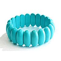 [10 см] Браслет на резинке голубая Бирюза продолговатые камни