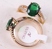 Кольцо 17р. xuping позолота 18К с зеленым цирконием