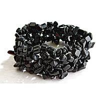 """[10 см] Браслет на резинке черный Агат  широкий, камни """"мелкий гравий"""""""