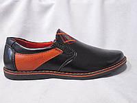Туфли детские 32-37 р., оранжевая вставка, вышивка, черные