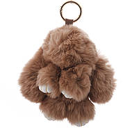 """Брелок на сумку Кролик """"молочный шоколад""""  (р-р 15 см ) нат. мех кольцо-карабин"""