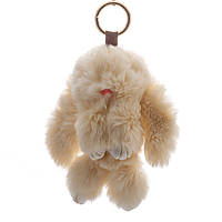 """Брелок на сумку Кролик """"латте"""" (р-р 15 см ) нат. мех кольцо-карабин"""