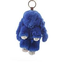 Брелок на сумку Кролик светло синий  (р-р 18 см ) нат. мех кольцо-карабин