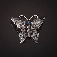 Брошь Бабочка серебристая серые  камни синие глазки 3 см