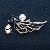 """Брошка Крыло ажур Синий кристалл с подвеской и жемчужиной  цвет металла """"серебро"""" 6 см"""