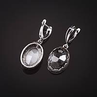 """Серьги с серыми кристаллами оправа  """"зубчик"""" овальный  камень 2*1,6см L-4см"""
