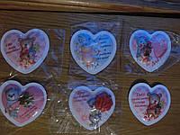 Магниты на холодильник пластиковое сердце размер 7*6,5