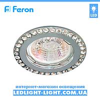 Врезной точечный светильник Feron DL100-C  стразы хром.