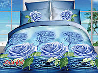 """Семейный комплект постельного белья """"Голубая роза""""."""