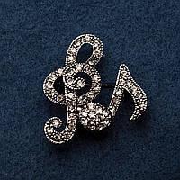Брошка Скрипичные ключи цвет металла серебро