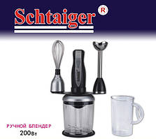Блендер измельчитель Schtaiger SHG-744, 200 Вт, погружной девайс, венчик, 2 скорости, держатель насадок