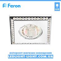 Врізний точковий світильник Feron DL102-C стрази, білий.