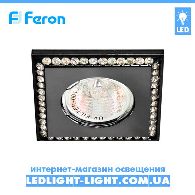 Врезной точечный светильник Feron DL102-C стразы, черный.