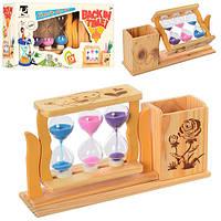 Деревянная игрушка Песочные часы с подставкой для ручек,микс видов, 21-11-6см