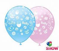 """Воздушные шарики Happy Birthday розовый и голубой , шелкография 12"""" (30 см) ТМ Show"""