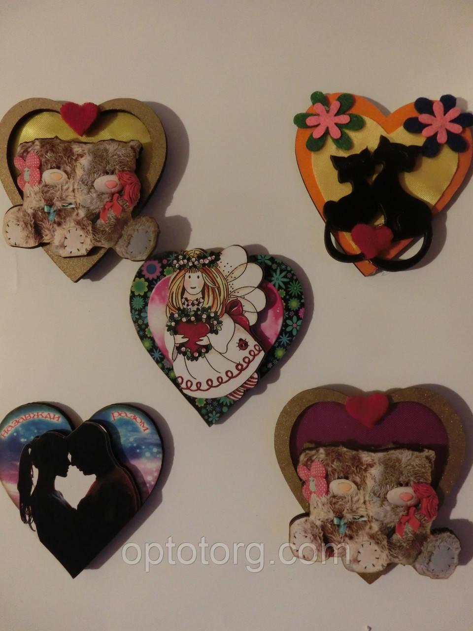 Магниты на холодильник деревянное сердце размер 7,5*7