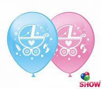 """Воздушные шарики Коляски шелкография 12"""" (30 см) ТМ Show,"""