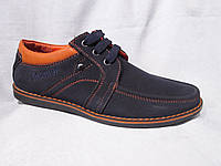 Туфли оптом детские 32-37 р., на шнурках, соранжевой строчкой и вышитой надписью, синий замш
