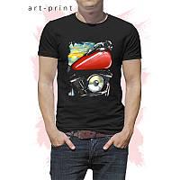 Чорна чоловіча футболка з принтом МОТО БАЙК, фото 1