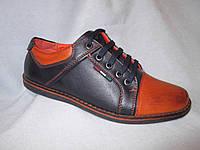 Туфли оптом детские 32-37 р., на шнурках, синие с коричневым носком