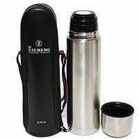 Термос металлический 1 литр FRICO FRU-214, вакуумный, клапан-кнопка, предохранитель, 12 часов, чехол