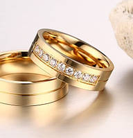 1012 - Бижутерия позолоченное обручальное кольцо с цирконами