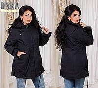 Черная батальная куртка с отделкой из норки. Арт-9665/9
