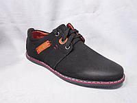 Туфли детские 32-37 р., на шнурках, оранжевая нашивка с красными стежками, замшевые черные, о