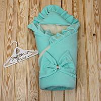 Зимний конверт для новорожденных Мария велюр ментол