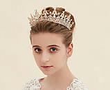 Детская корона, диадема, тиара в золоте с красными камнями, высота 5,5 см., фото 6