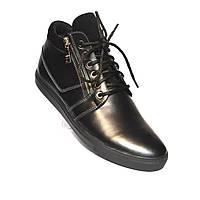 Кожаные зимние ботинки мужские Rosso Avangard. MeZo черные, на меху, на молнии