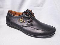 Туфли детские оптом 32-37 р., на шнурках, отстрочка, шильда сбоку, черные
