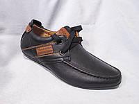 Туфли оптом детские 32-37 р., на шнурках, нашивки коричневые, строчки, черный кожзам
