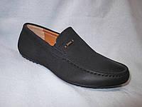 Туфли оптом детские 32-37 р., мокасины с боковой шильдой, черная замша