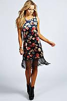 Бархатное платье с бахромой Boohoo прямого кроя