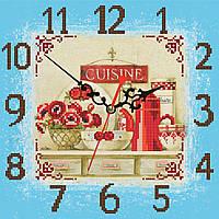 """Схема для вышивки бисером на атласе Часы для кухни """"Маки""""(голубой фон)"""