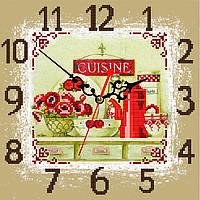 """Схема для вышивки бисером на атласе Часы для кухни """"Маки""""(фон капучино)"""