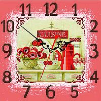 """Схема для вышивки бисером на атласе Часы для кухни """"Маки""""(фон терракот)"""