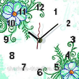 """Схема для вышивки бисером на атласе Часы для кухни """"Ромашки""""(белый фон )"""